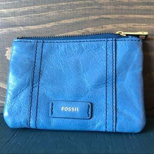 Fossil Key Fob Credit Card ID Holder Blue Leather